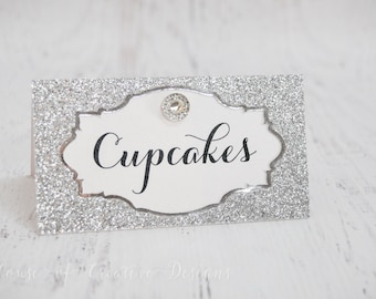Sparkly Glitter Dessert/Food label tent cards or place cards