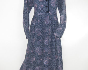 LAURA ASHLEY Vintage Bilberry Paisley Rose Autumn Needlecord Day Dress, UK 14