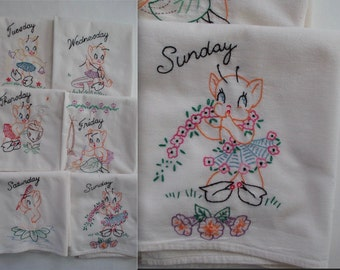 Vintage PIXIES TOWELS Hand embroidered / Days of the Week / set of 6 / UNused