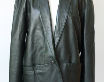 Vintage Dark Green Leather Blazer / Oversize Mid Length Leather Jacket / Siena Leather Coat 0629