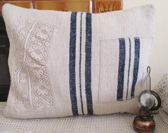 105. Antique grainsack pillow sham, handwoven organic hemp grainsack pillow sham, homespun handmade grainsack pillowcover