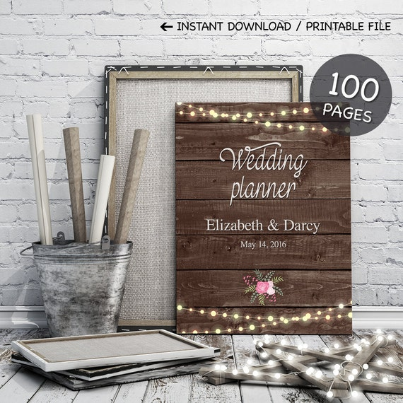 Printable wedding planner on rustic wood background + personalised cover /100 pages /wedding kit, organiser, binder, checklist /DIGITAL FILE
