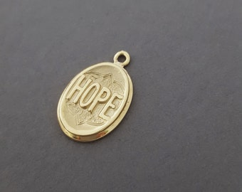 "Antique Inspired *YELLOW GOLD* Victorian ""HOPE"" Charm / Pendant Necklace - Sentimental Jewelry"