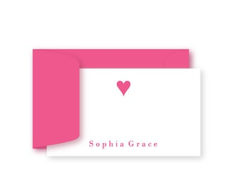 Personalized Birthday Gift Enclosure Cards, Set of 10, Preppy Heart