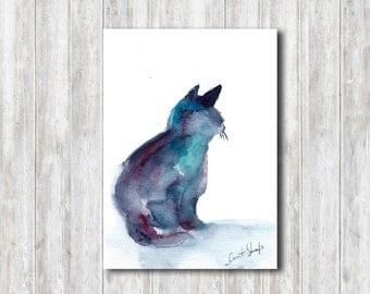 Cat Watercolor Painting, Blue Cat Silhouette, Original Painting, Watercolour Minimalist Art