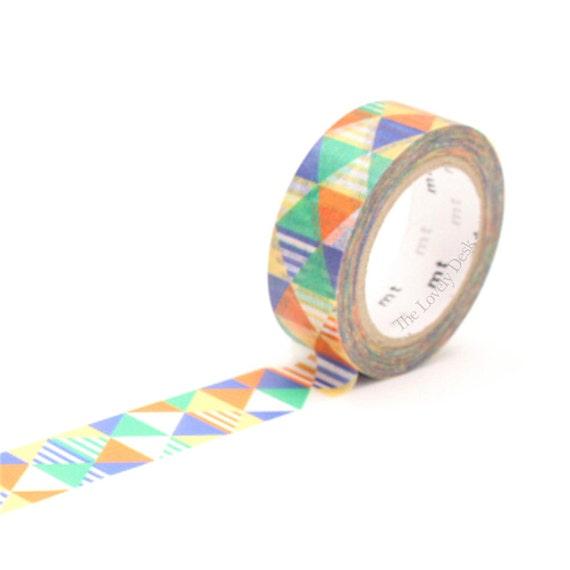 Mt blue triangle geometric washi tape shimasankaku blue for Geometric washi tape designs