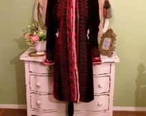 Marie Antoinette Coat, Bohemian Gypsy Coat, Silk Velvet and Fringe, Art To Wear, Long Unique Jacket, One of a Kind Coat, Ooak Clothing, Sz M
