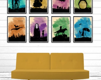 Hayao Miyazaki Minimalist Movie Poster Set \ 8 Poster \ Totoro, Howl's Moving Castle, Castle in the Sky, Kiki's Delivery Service etc.