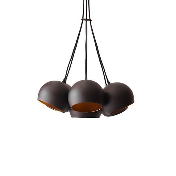 globe pendant chandelier cluster light handmade vintage mid. Black Bedroom Furniture Sets. Home Design Ideas