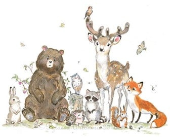 Woodland Nursery Decor, Woodland animals, Giclee, Forest animals, Bear Fox Deer Raccoon Owl, Woodland Creatures