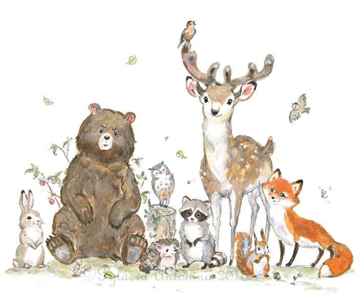 woodland nursery decor woodland animals giclee forest Cartoon Hedgehog clipart hedgehog black and white