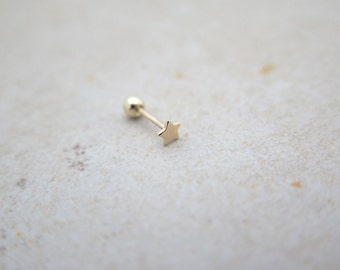 10K/14K Solid Gold piercing/Tiny Star Piercing/Helix piercing/cartilage earring/Tragus piercing /Delicate ear piercing/Daith piercing/Conch