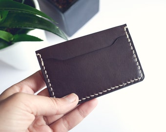 Leather cardholder, DARK CHOCOLATE