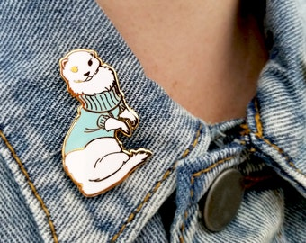 Ferret in Turtleneck Sweater Hard Enamel Pin - Blue, White, and Gold - Lapel Pin Cloisonné Badge