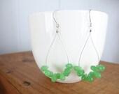 Juicy pear earrings - drops of gorgeous faceted glass teardrop hoops
