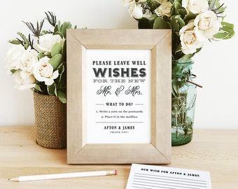 "INSTANT DOWNLOAD | Printable 5x7 Wedding Sign | ""Well Wishes for the New Mr. and Mrs."" 