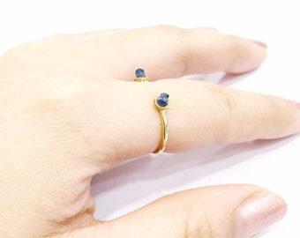 14 Karat Gold Filled Blue Kyanite Ring Dainty Ring Stacking Ring Gemstone Minimalist Ring Open Ring