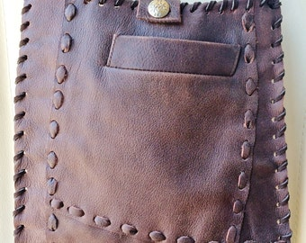 Taiya Santa Fe Bag - boho gypsy handbag, handmade from recycled earthy brown leather - one of a kind, eco-friendly purse