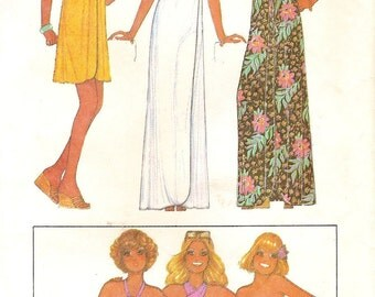Wrap Around Dress Beach Cover Up & Knits Bathing Suits Size 16 Sewing Pattern 1970s