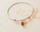 SALE! Rose Gold Bracelet, Personalized initial bangle bracelet, Pine cone Bracelet, Family Tree Bracelet,friendship, Bridesmaid Gift