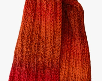Hand Knit Scarf - Ombre Red Orange Wool Trail Ridge Rib