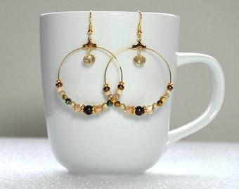 Brown & Gold Hoop Earrings: Extra Large Hoop Earrings, Beaded Hoop Earrings, Nickle-Free Earwires, Handmade in the USA, Gifts for Her