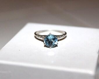 Aquamarine Engagement Ring, 1.25 cts,Vintage Wedding Ring, March Birthstone, Estate 1940's,Aquamarine Jewelry