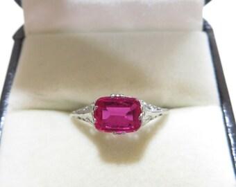 Antique 10K Art Deco Ruby Filigree Ring