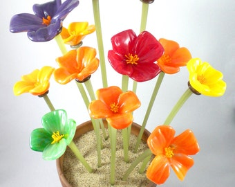 Glass California Poppy Flowers- organic, hand scuplted, free formed in California orange, rainbow, spring, great gift idea, price per flower
