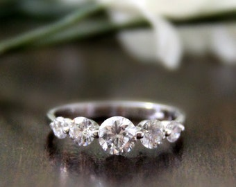 1.16 ct.tw Engagement Ring-Brilliant Cut Diamond Simulants-Bridal Ring-Wedding Ring-Anniversary Ring-Promise Ring-Sterling Silver [1716]