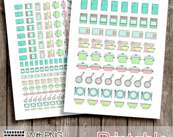 20% OFF - Cute Kitchen Items  PRINTABLE Planner Stickers  Instant Digital Download