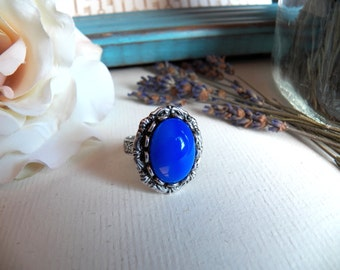 RING SALE - Gorgeous Blue Vintage Glass - Silver Adjustable Ring - Antique Silver Jewelry by HoneyNest