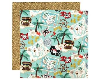 Cloth Napkin, Kids Lunchbox Napkin, Boys Lunch Napkin, Pirates Treasure, 1 double sided Fabric Napkin for Kids