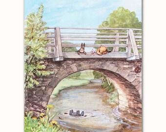 Nursery Wall Art Print (Classic Pooh Baby Shower Gift, Winnie the Pooh Books Illustration)
