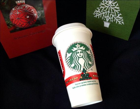 Custom Crystal Collector Starbucks Cup 16oz Grande Swag Christmas Swarovski Eco reusable Travel Coffee Tea Cup Tumbler mug Rhinestone Gift