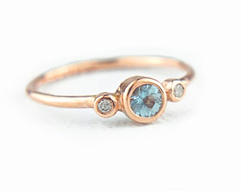 Rose Gold Aquamarine and Diamond Ring 14k Gold Natural Aquamarine Diamond Gold Ring Aquamarine Engagement Ring Alternative Engagement Ring