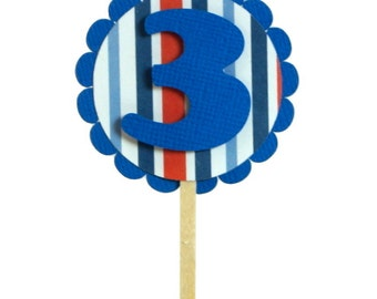 Blue & Stripes 3 Cupcake Toppers, Set of 12, Birthday, Stripe Theme, Cupcake Decor, Handcrafted Party Decor, Party Supplies
