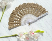Lace Hand Fan- Gold Hand Held Fan- Bouquet Alternative- Handmade Lace Fan- Folding Hand Fan- Spanish Wedding Fan- Bridal Fan- Wedding Prop