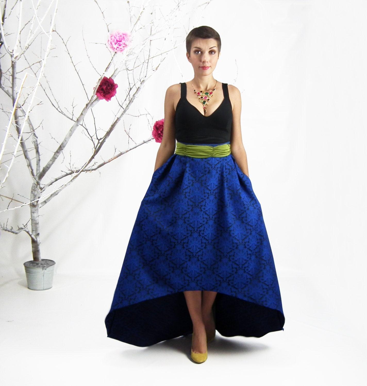 maxi skirt high low skirt blue jacquard skirt plus size