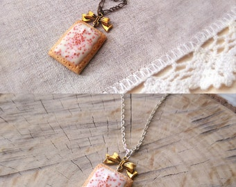 Pop tart necklace, clay charm, cookie necklace, miniature food charm, biscuit pendant, pastry necklace, food jewelry, kawaii charms