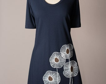 tshirt dress, navy blue dress, cotton dress, summer dress