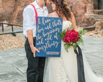 Gatsby Wedding Sign Fitzgerald Quote Painted Wooden Wedding Decor Wedding Aisle & Venue Decorations, Gold and Navy or Custom (Item - GPS600)