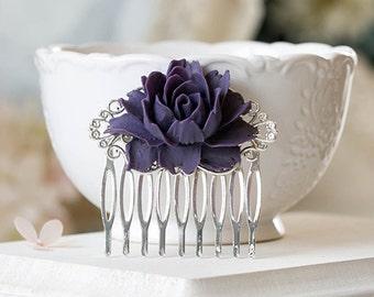 Purple Flower Bridal Hair Comb Silver Bridal Hair Piece Hairpiece Bridesmaid Gift Eggplant Purple Wedding Hair Accessory Romantic Vintage