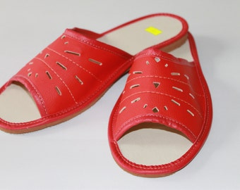 Red summer slippers
