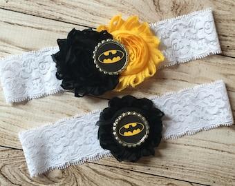 Batman inspired wedding garter set