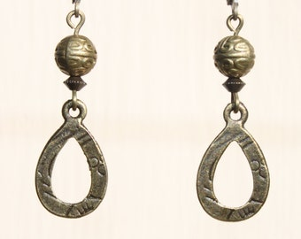 Brass Earrings Bronze Earrings Metal Earrings Dangle Jewelry Earrings Christmas gift Ideas