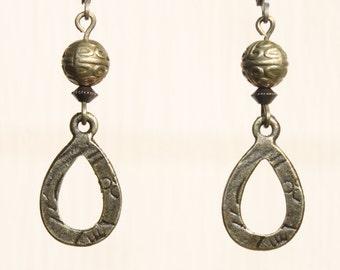 Brass Earrings Bronze Earrings Metal Earrings Dangle Jewelry Earrings Gift Ideas Gift for her