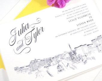 Las Vegas Skyline Destination Wedding Invitation, Vegas Wedding, Invite  (Sold in Sets of 10 Invitations, RSVP Cards + Envelopes)