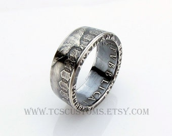 SILVER Italian 500 Lire Caravelle Coin Ring, Italia, Unique Engagement Ring, Wedding Ring, Coin Jewelry, Mens, Band, Mans, Rings