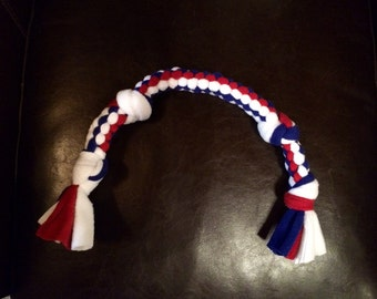 Dog Tug of War Chew Toy Fleece Knotted Dog Toy Blue Red and White Ready To Ship
